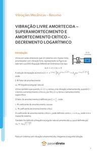 Vibrações livres amortecidas: superamortecimento e o decremento logarítmico - Apostila