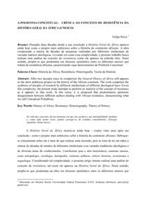 CRÍTICA AO CONCEITO DE RESISTÊNCIA DA HISTÓRIA GERAL DA ÁFRICA (UNESCO)