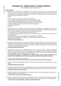 Resumão AV3 - Ensino Clínico VI Teórico