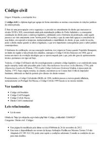 Código civil – Wikipédia  a enciclopédia livre