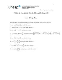 10 Lista de Cálculo Dif e Int II - Área de Superfície