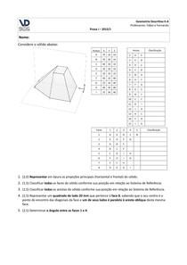Exemplo de P1 Geometria Descritiva 2 UFRGS Prof. Fábio Gonçalves Teixeira