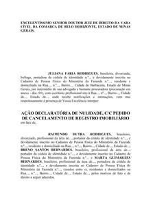 MODELO DE AÇÃO DECLARATÓRIA DE NULIDADE, CC PEDIDO DE CANCELAMENTO DE REGISTRO IMOBILIÁRIO