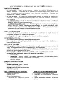 AUDITORIA E GESTÃO DE QUALIDADE NAS INSTITUIÇÕES DE SAÚDE