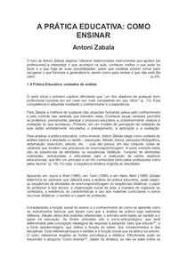 RESUMO: A PRÁTICA EDUCATIVA: COMO ENSINAR, de Antoni Zabala