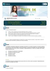 Teste de Conhecimento 05 - Contabilidade de Custos