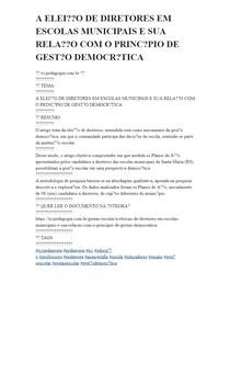 A ELEIÇÃO DE DIRETORES EM ESCOLAS MUNICIPAIS E SUA RELAÇÃO COM O PRINCÍPIO DE GESTÃO DEMOCRÁTICA