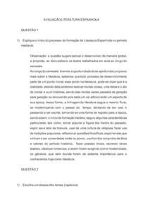 prova III literatura ESPAÑOLA