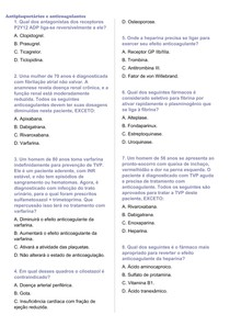 Questões sobre os Anticoagulantes e Antiplaquetários + gabarito