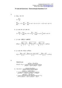 5ª Lista de Exercícios - Demonstração Questões 3 e 4