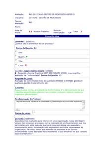 Avaliação on line Av 2 gestão de processor