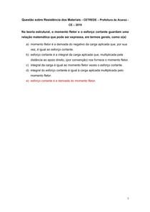 Questão sobre Resistência dos Materiais - CETREDE Prefeitura de Acaraú - CE 2019