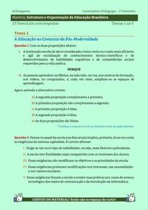 Estrutura e Organização da Educação Brasileira - 25 Exercícios resolvidos dos Temas 1 ao 5