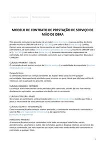 Modelo De Contrato De Prestação De Serviços De Mão De Obra I