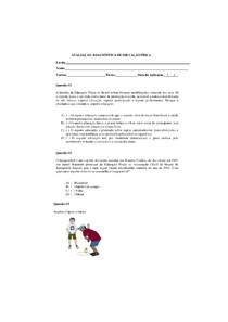 Avaliação diagnóstica de educação física 6º ano