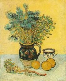 Vincent Willem van Gogh-ainda-vida-Majolica Jug-com-Wildflowers