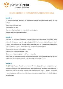 Lista de Exercício 03 - Movimento Retilíneo Uniforme (MRU)