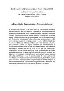 A Diversidade, Desigualdade e Preconceito Social