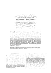 Power Control in Wireless Communications Networks - From a Control Theory Perspective
