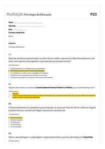 Avaliação Psicologia da Educação - Gabarito P23 MatPed
