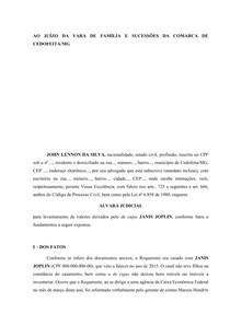 MODELO - Alvará Judicial - Código de Processo Civil - Prática Jurídica