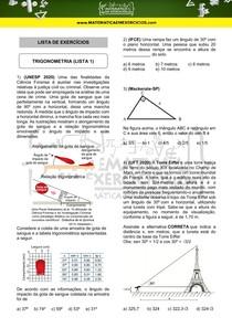 Exercícios - Trigonometria (lista 1)