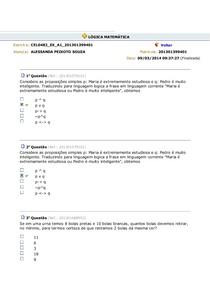 Lógica Matemática Exercícios Aula 123456789 E 10 L