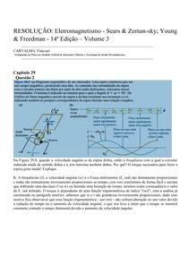 RESOLUÇÃO: Eletromagnetismo - Sears & Zemansky; Young & Freedman - Capitulo 29 - Questão 2