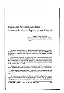 Ordem dos Advogados do Brasil - Natureza Jurídica - Regime de seu Pessoal