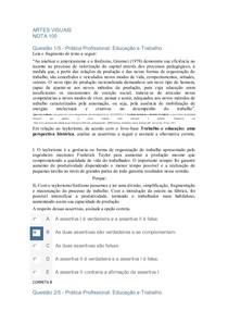 APOL ARTES VISUAIS PRATICA PROF. EDUCAÇAO E TRABALHO
