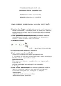 Estudo Dirigido - ECOLOGIA - Desertificação (respondido)