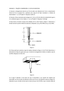 Unidade 03 - Tração e Compressão (1ª Lista de Exercícios)