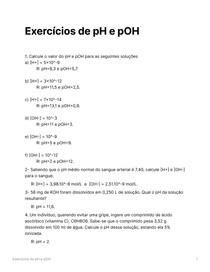 Exercícios de pH e pOH
