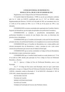 Codigo de Etica 1984 - CONSELHO FEDERAL DE BIOMEDICINA