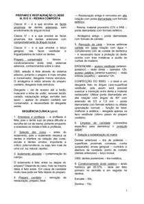 PREPARO E RESTAURAÇÃO CLASSE III, IV, V