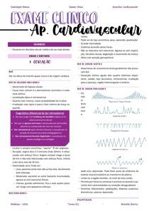 Resumo aparelho CV - exame físico
