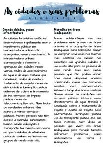 Geografia - As cidades e seus problemas (Resumo)
