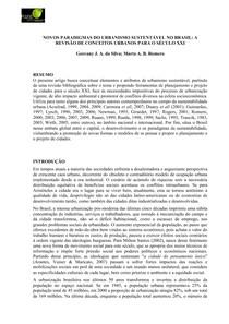 NOVOS PARADIGMAS DO URBANISMO SUSTENTÁVEL NO BRASIL - A REVISÃO DE CONCEITOS URBANOS PARA O SÉCULO XXI