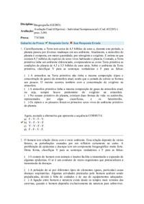 Avaliação Final (Objetiva)  Biogeografia