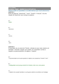 Prova online 100667 - SEMÂNTICA E ESTILÍSTICA