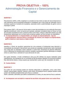 PROVA OBJETIVA 100% - ADM FINANCEIRA E O GERENCIAMENTO DE CAPITAL