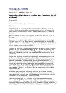 01 O papel de Silvia Lane na mudança da Psicologia Social no Brasil