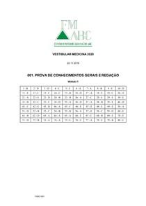 PROVA 2020 FMABC - Centro Universitário Faculdade de Medicina do ABC (FMABC)