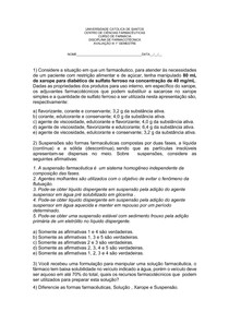 AVALIAÇÃO 3 - Farmacotécnica