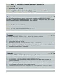 Avaliação - LEGISLAÇÃO TRABALHISTA E PREVIDENCIÁRIA