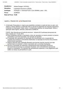 AVALIAÇÃO II - Legislação Aduaneira