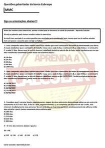Questões gabaritadas da Banca Cebraspe , MMC#EXCLUSIVOPD