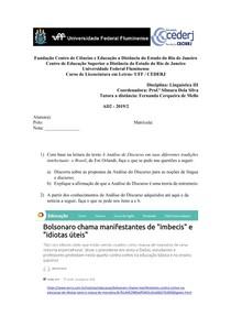 AD2 de Linguística III - 2019 2