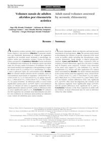 Volumes nasais de adultos aferidos por rinometria acústica