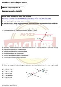 Exercícios básicos de matemática Ângulos parte 2